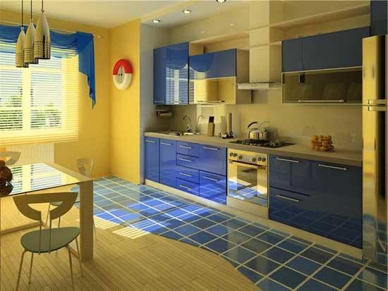 кухня в желто-синих тонах