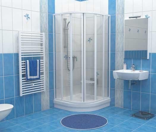 ванная с душевой кабиной в голубом цвете