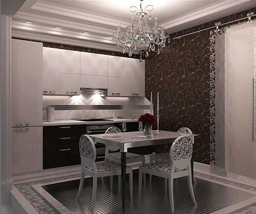 Кухня в стиле Арт-Деко в небольшом помещении