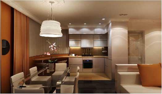 варианты освещения кухни гостиной