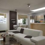 зонирование кухни гостиной с помощью мебели