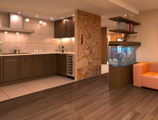 зонирование кухни гостиной стелажом