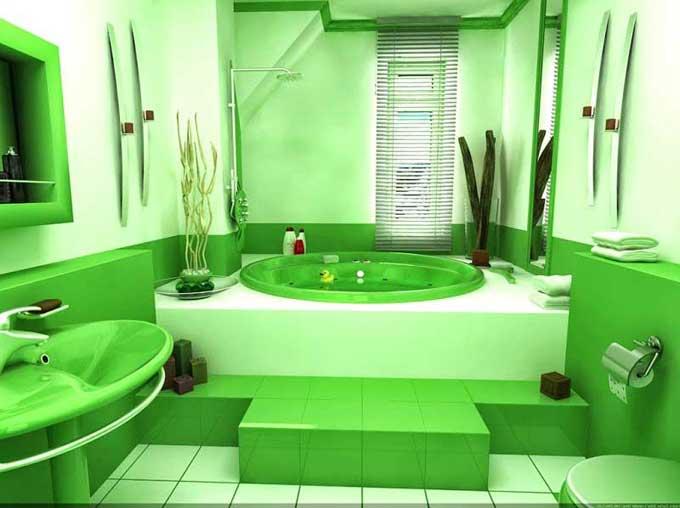 дизайн совмещенной ванной в зеленых тонах