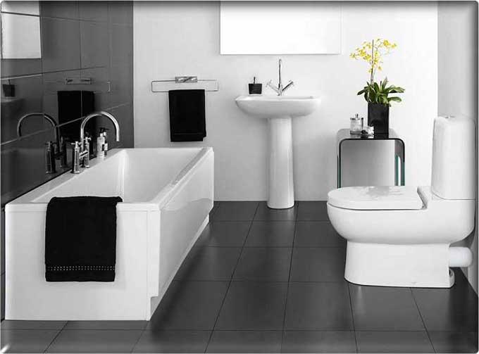 ванная совмещенная с туалетом в черно-белой гамме
