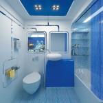 синий дизайн ванной комнаты в хрущевке