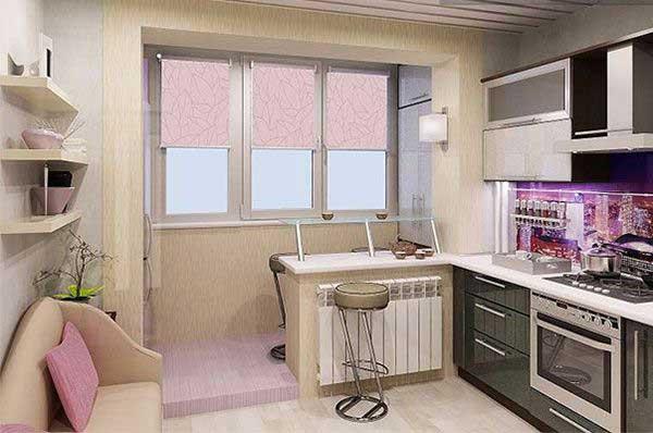 фото интерьера кухни с балконом