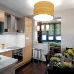 интерьер совмещенной кухни и лоджии