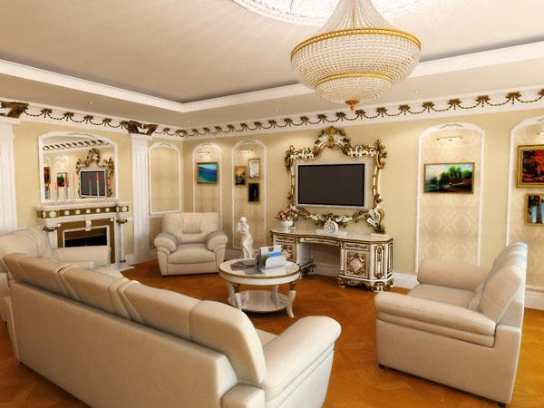 отделка классических гостиных