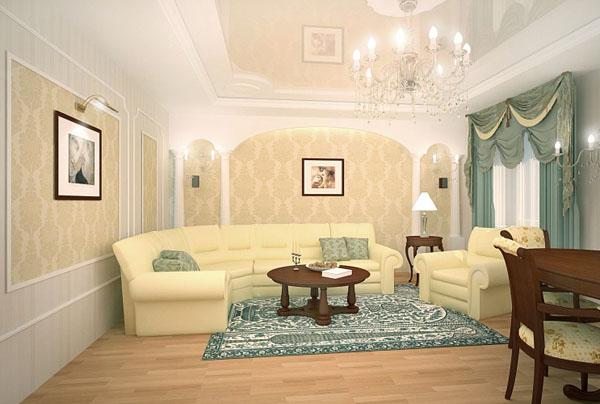 стены в классической гостиной