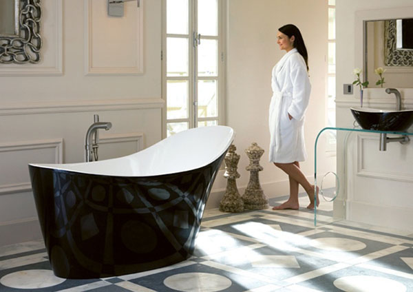 не тривиальный интерьер ванной комнаты