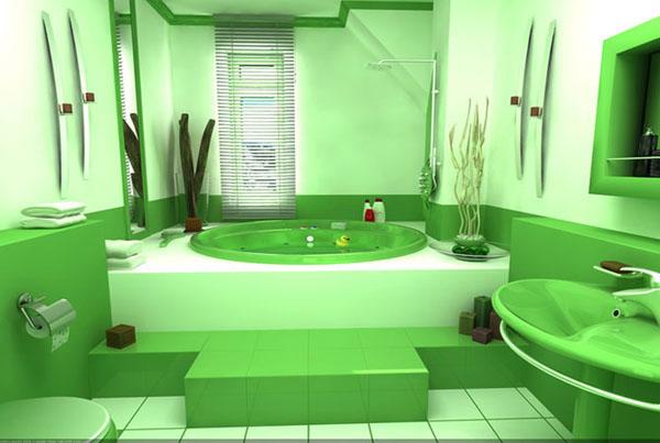 ванна из искусственного камня в зеленых тонах