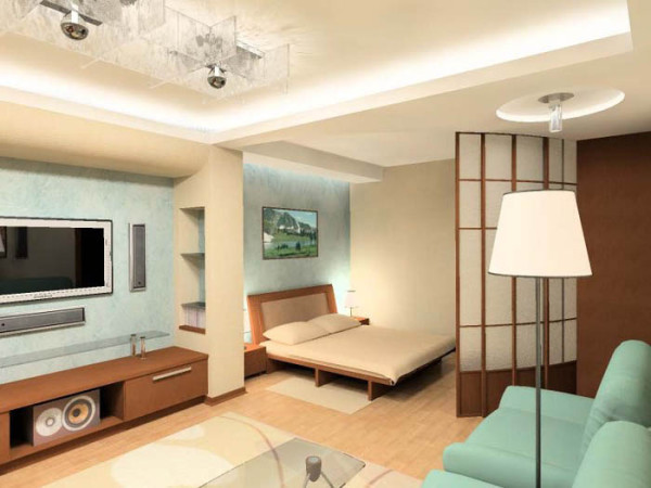 Зонирование однокомнатной квартиры мебелью