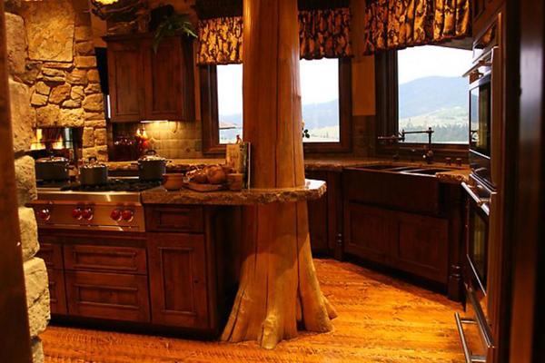 Натуральные материалы в деревенской кухне