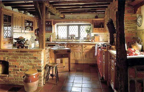 Полы в интерьере деревенской кухни