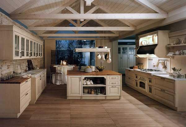 Потолочные балки в кухне стиля прованс