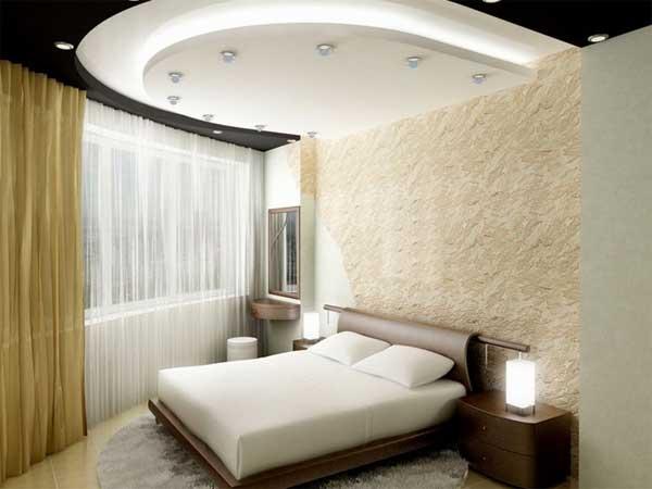 Дизайн потоков в спальне из гипсокартона