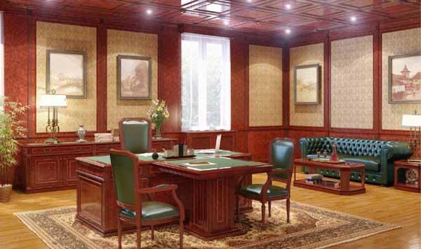 Просторный кабинет в английском стиле