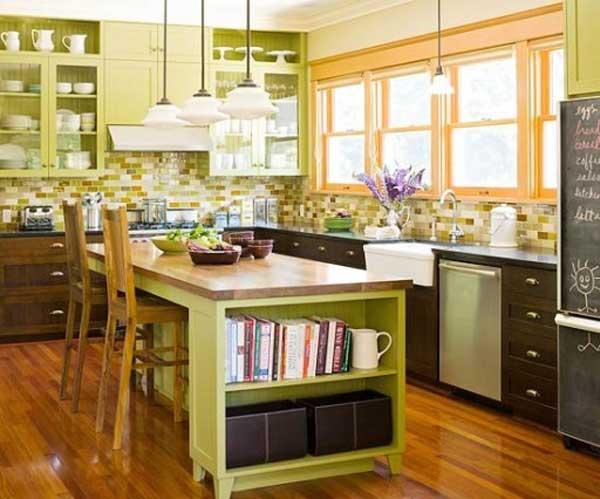 Оформление кухни в зеленом цвете