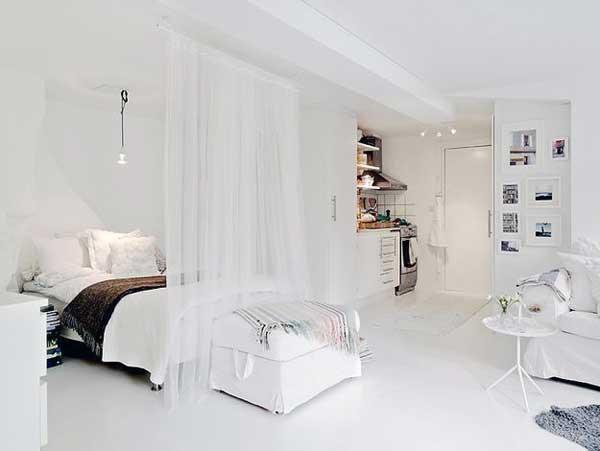 Использование ширмы для спальни