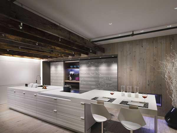 Линейная кухня в стиле лофт