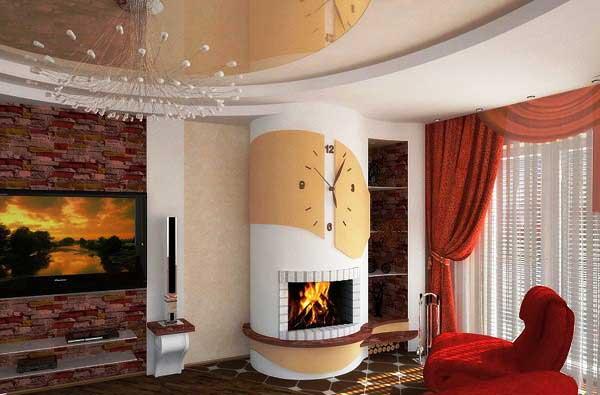 Стильная гостиная с камином
