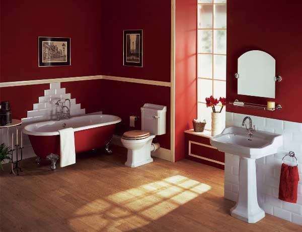 Оформление ванной в бордовом цвете