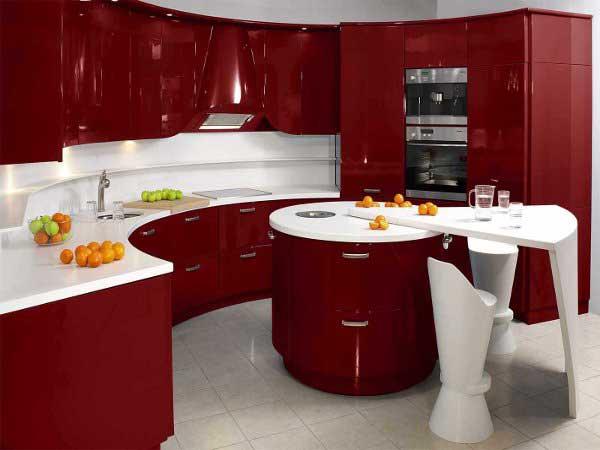 Кухня в бардовом цвете