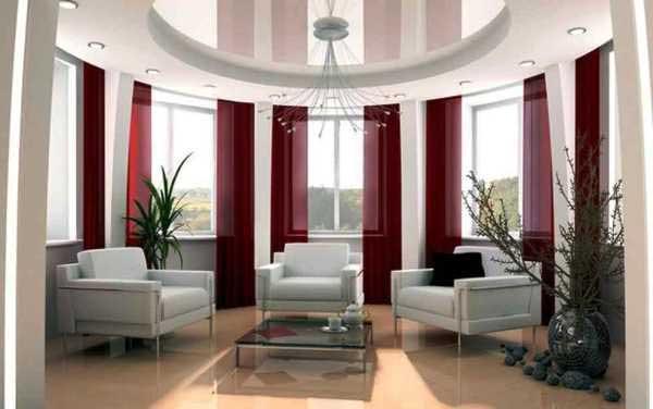Бардовые шторы в гостиной