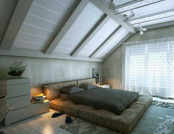 Что не стоит использовать в дизайне спальни в мансарде