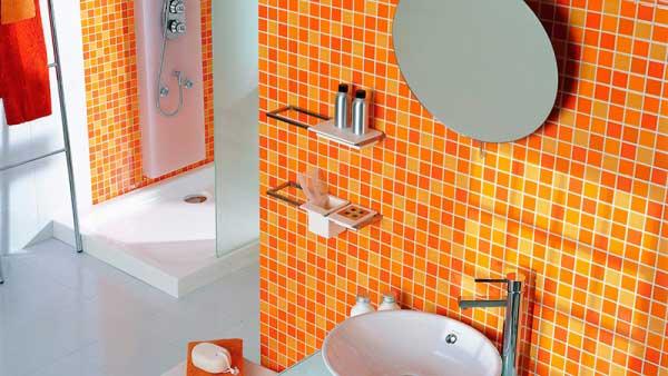 Оранжевая плитка для ванной