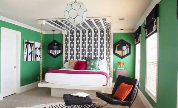Оригинальный дизайн просторной спальни