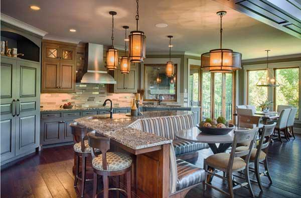 Зонирование пространства в кухне мебелью