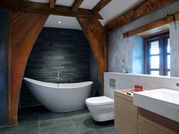 Оригинальный дизайн современной ванной