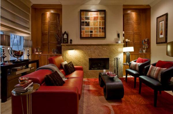 Стильный красный кожаный диван
