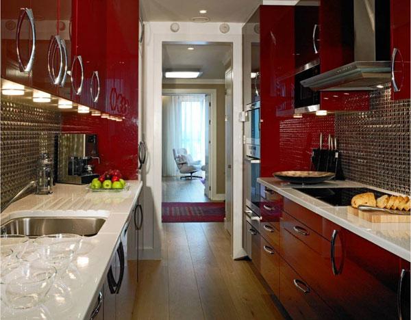 Параллельное расположение кухонного гарнитура