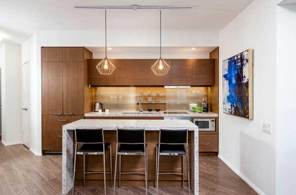 Линейное расположение гарнитура на кухне в частном доме 2017