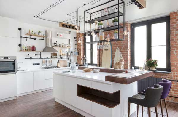 Кухня в стиле лофт в частном доме 2017