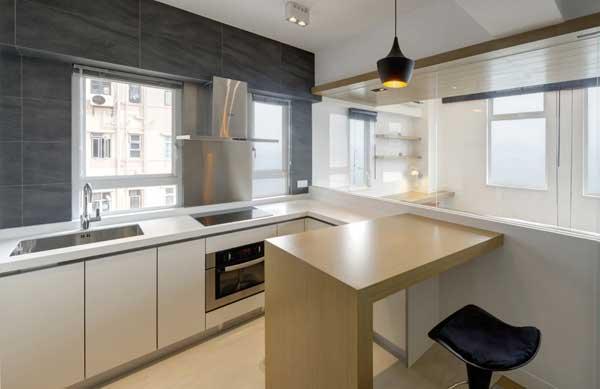 Барная стойка в виде отдельного элемента в интерьере кухни